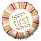 "Ballon en alu ""Premier anniversaire animalier"" 45 cm - rose"