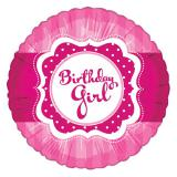 "Ballon en alu ""Pretty Pink - Birthday Girl"" 45 cm"