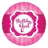 "Ballon en alu ""Pretty Pink - Birthday Girl"" 45 cm"