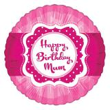 "Ballon en alu ""Pretty Pink"" Happy Birthday Mum 45 cm"