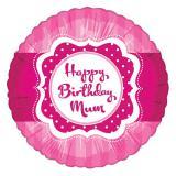 "Ballon en alu ""Pretty Pink"" Happy Birthday Mum 45 cm"