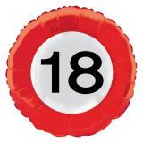 """Ballon en alu """"Panneau de limitation de vitesse - 18 ans"""" 45 cm"""