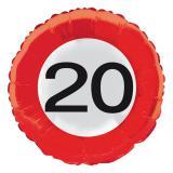 """Ballon en alu """"Panneau de limitation de vitesse - 20 ans"""" 45 cm"""