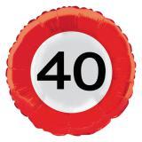 """Ballon en alu """"Panneau de limitation de vitesse - 40 ans"""" 45 cm"""