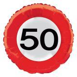 """Ballon en alu """"Panneau de limitation de vitesse - 50 ans"""" 45 cm"""