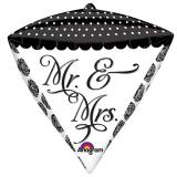 "Ballon en alu en forme de diamant ""Mr. & Mrs."" 38 x 43 cm"