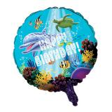 "Ballon en alu Happy Birthday ""Ocean Dream"" 45 cm"