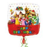 """Ballon en alu Happy Birthday """"Super Mario"""" 43 cm"""