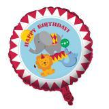 """Ballon en alu Happy Birthday """"Attraction de cirque"""" 45 cm"""