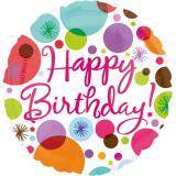 "Ballon en aluminium ""Happy Birthday - feux d'artifices"" 43 cm"