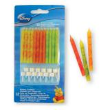 "Bougies d'anniversaire avec supports ""Winnie l'ourson"" 12 pcs"