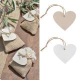 """4 étiquettes en bois pour cadeaux """"Coeur"""""""