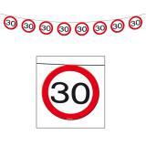"""Guirlande """"Panneau de limitation de vitesse 30 ans"""" 12 m"""