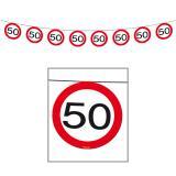 """Guirlande """"Panneau de limitation de vitesse  50 ans"""" 12 m"""