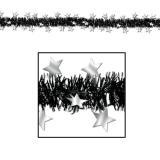 Glamour Stern-Girlande 3,7 m -silber-schwarz