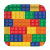 """8 assiettes carrées en carton """"Briques colorées"""""""