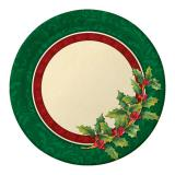 """8 grandes assiettes en carton """"Houx de Noël"""" 22 cm"""