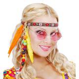"""Bandeau """"Happy Hippie"""" avec plumes et perles"""