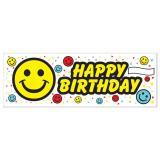 """Bannière Happy Birthday """"Smileys multicolores"""" 1,5 m x 53 cm"""