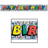 """Bannière """"Happy Birthday"""" avec couleurs métallisées 1,5 m"""