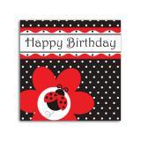 """16 serviettes Happy Birthday """"Coccinelle"""""""