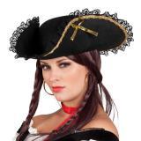Chapeau de femme pirate noir & or