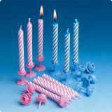 12 bougies d'anniversaire classiques avec supports