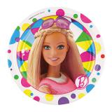 """8 petites assiettes en carton """"Le monde coloré de Barbie"""""""