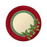 """8 petites assiettes en carton """"Houx de Noël"""" 17,5 cm"""