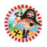 """8 petites assiettes en carton """"Petit pirate courageux"""""""