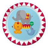 """8 petites assiettes en carton """"Un éléphant au cirque"""""""