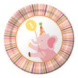 """8 petites assiettes """"Fête au zoo"""" fille"""