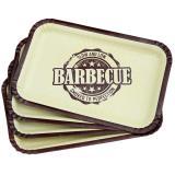 """8 petites assiettes en carton carrées """"Barbecue-Party"""""""