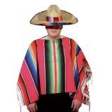 Poncho mexicain à rayures colorées 1,20 m x 1,20 m