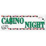 """Bannière en plastique """"Casino Night"""" 1,5 m x 53 cm"""