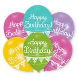 """6 ballons de baudruche multicolores """"Happy Birthday"""""""