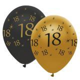 "Ballons de baudruche ""Black & Gold 18"" 6 pcs."
