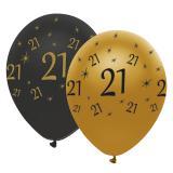 "Ballons de baudruche ""Black & Gold 21"" 6 pcs."