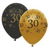"Ballons de baudruche ""Black & Gold 30"" 6 pcs."