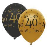 "Ballons de baudruche ""Black & Gold 40"" 6 pcs."