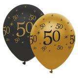 "Ballons de baudruche ""Black & Gold 50"" 6 pcs."