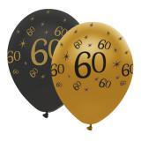 "Ballons de baudruche ""Black & Gold 60"" 6 pcs."