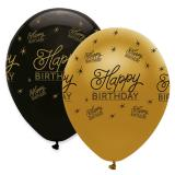 "Ballons de baudruche ""Black & Gold"" Happy Birthday 6 pcs."