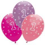 "6 Ballons ""Jungle girl 1er anniversaire"""
