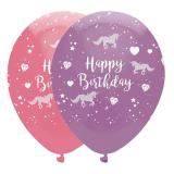 "6 Ballons ""Petit anniversaire licorne"""