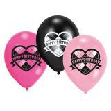 "6 ballons ""Lovely Happy Birthday Girl"""