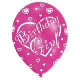 "6 ballons de baudruche ""Pink Birthday Girl"""