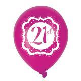 "Ballons de baudruche ""Pretty Pink"" 21 ans 6 pcs."
