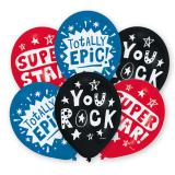 "Ballons de baudruche ""You rock"" lot de 6"