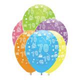 """6 ballons de baudruche """"Fête d'anniversaire colorée"""" - 70"""